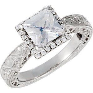 1.76 ct Princess round diamonds wedding ring white